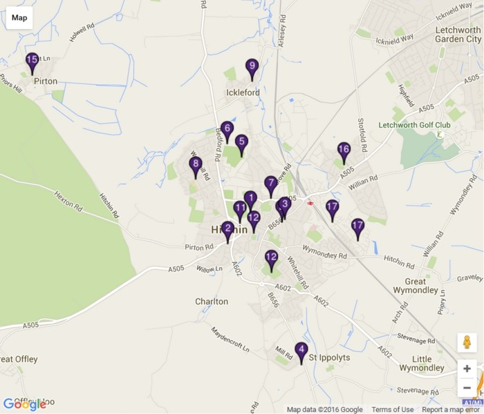 Hitchin and District Groups Google Map (preview)